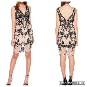 Victoria Flocked Pencil Dress